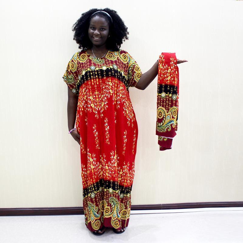 Dashikiage 100% Хлопок Африканский Дашики Печати O-Образным Вырезом С Коротким Рукавом Плюс Размер Мама Платье С Шарфом