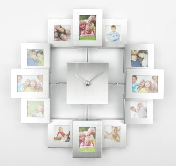 Modern Design Photo Frame Wall Clock with 12 Pictures Large Decorative Metal Wall Clock Living Room Bedroom Art Decor