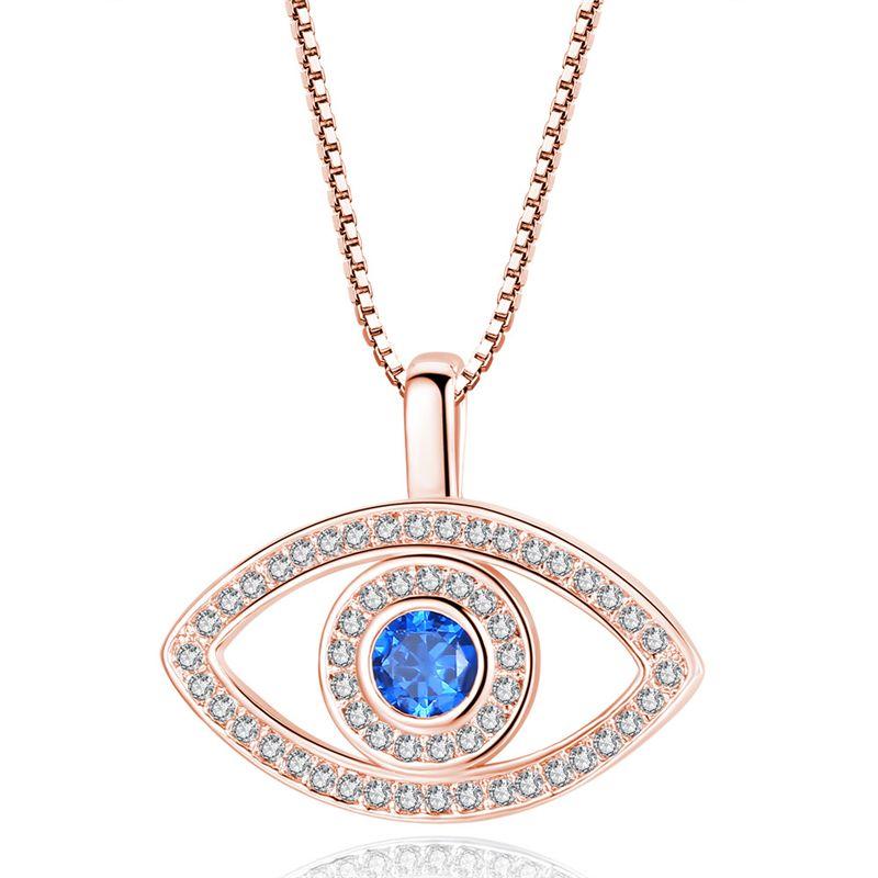 أزرق العين قلادة كريستال فاخر CZ عظم الترقوة قلادة فضية روز الذهب والمجوهرات العين الثالثة الزركون الأزياء قلادة هدية عيد ميلاد