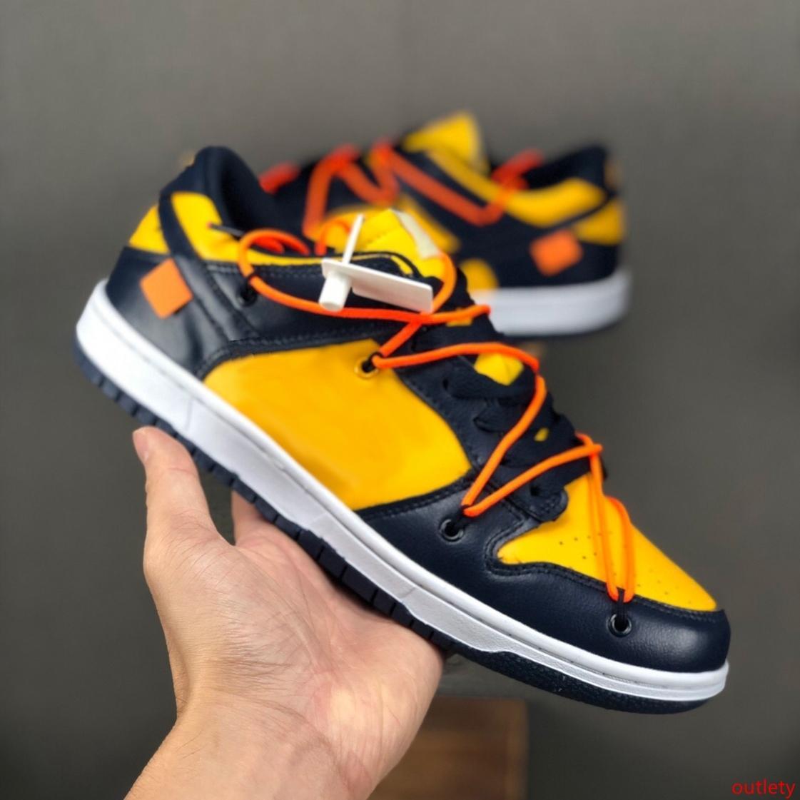 Nuevo Color Futura x SB Dunk Low diseñador de los zapatos corrientes del deporte del Mens Sneaker 1s Negro monopatín amarillo naranja Hombres Zapatos des chaussures Zapatos