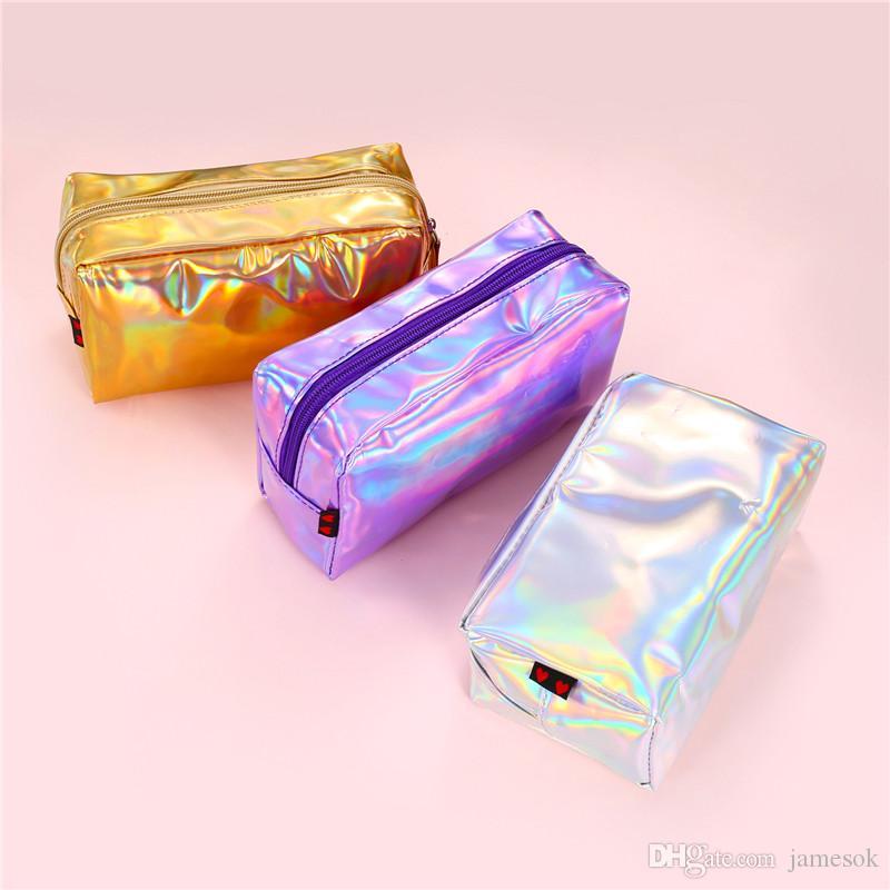 2019New Square Cosmetic Saco Laser Bolsa Holográfica Makeup Bag Beleza Caso Colorido Organizador de Viagens Organizador Saco DC343