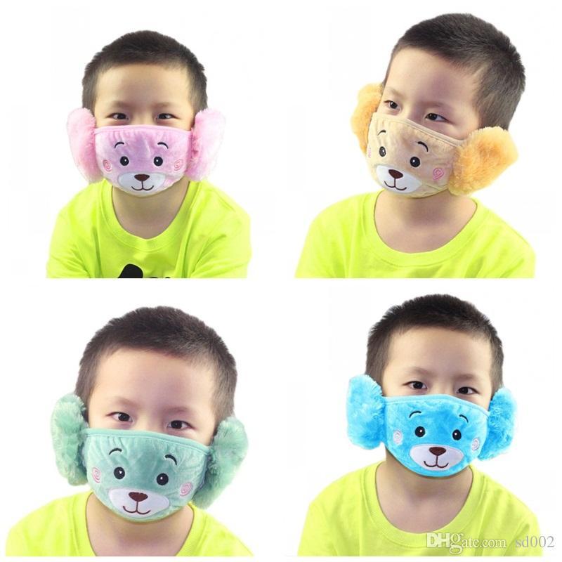 Popular 2 en 1 protector del oído del oso de los niños del bordado de la boca Máscara regalos Máscaras anti del polvo de cara Fit Kids Party 2 9jzj E19