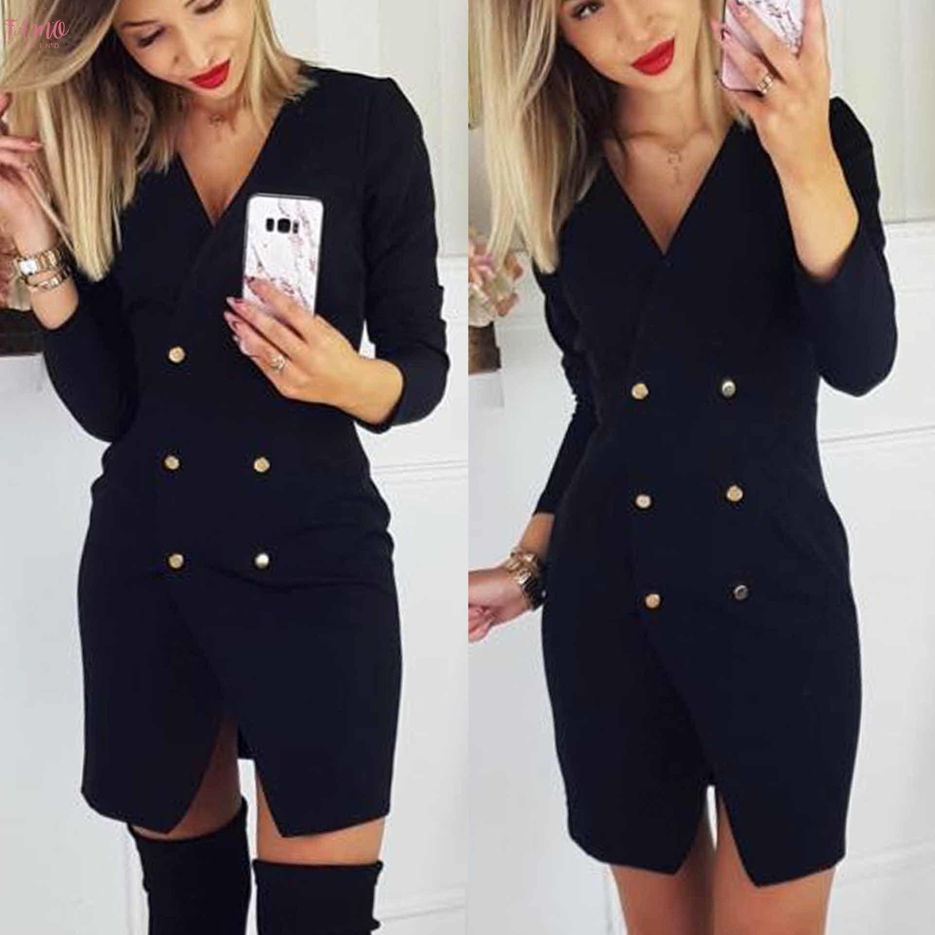 2020 Güz Giyim Rahat Düşük Kesim Düz Renk Kadın Mini Elbise Ofis Bayanlar Mini Elbise Bodycon Elbise Ofis Giyim