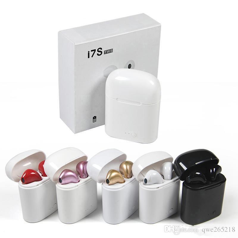 Toptan I7S Mini TWS Bluetooth Kulaklıklar Kablosuz Kulaklık Kulaklık Çift Kulaklık Perakende Kutusu ile iPhone X Android için Şarj Kutusu ile