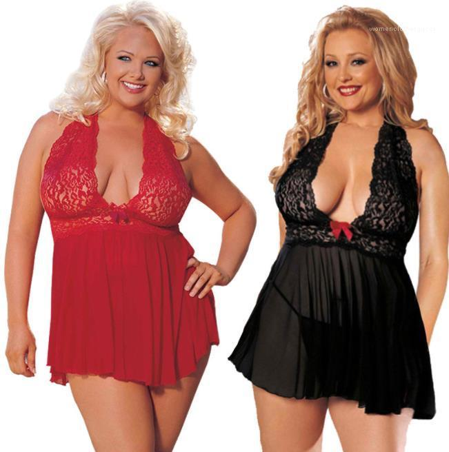 5XL 6XL Women Sexy Pajamas Lace Halter Plus Size Sexy Skirt Red Black