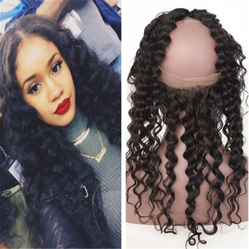 Pre Plucked Frontal Deep Wave 360 Lace Virgin Hair Natural Hairline 360 Lace Frontal Closure Lace Band Frontal Free Shipping