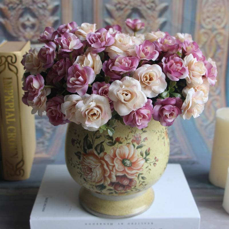 10Pcs/lot Artificial Silk flowers 5 fork Autumn color Aussie Rose Diy Rose Wreath Wedding Decoration Home decor Simulation Plant Fake Flower