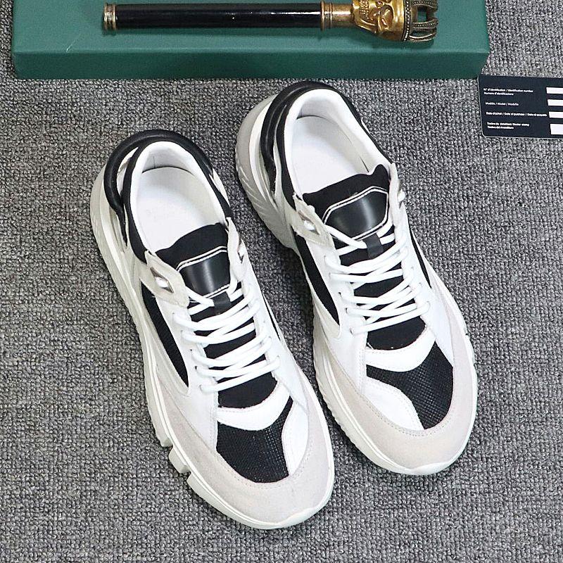 New fashion classic men's shoes high quality large size Scarpe da uomo luxury retro lace-up low-top shoes Gumboy calfskin sneakers qwu
