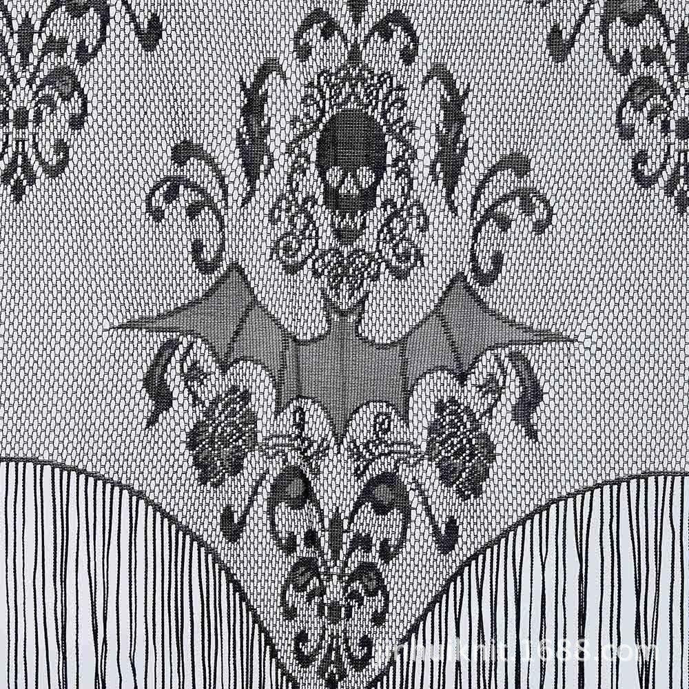 Skull Bat Web Curtain Topper Shawl Hallow Haunted House Home Tassel Party Decor Tablecloth Halloween Curtain Decoration Dropship
