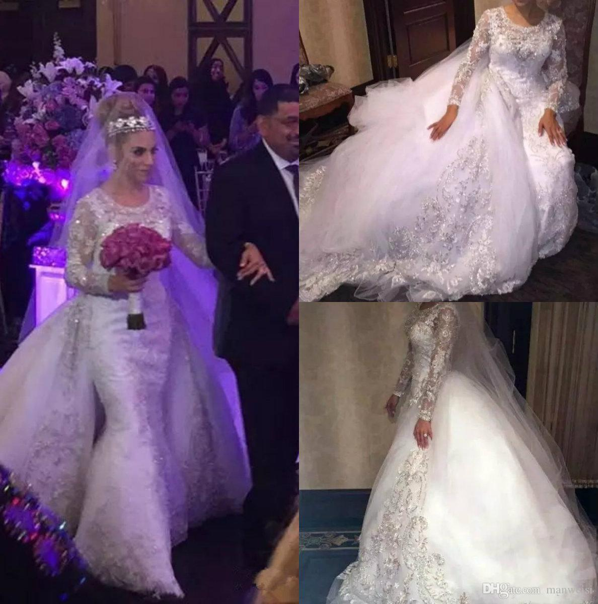 Modest Mermaid 2019 Lace Wedding Dresses With Detachable Train Long Sleeve Appliqued Beads Wedding Gowns Bridal Dress Vestidos De Nnovia