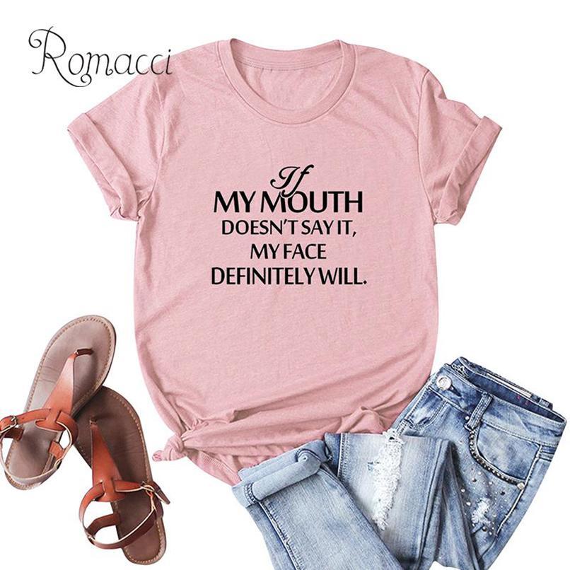 Tamaño más Camiseta Mujer Casual Mujeres camiseta de algodón Mi Boca letra de la impresión de manga corta del cuello de O te floja de gran tamaño Tops