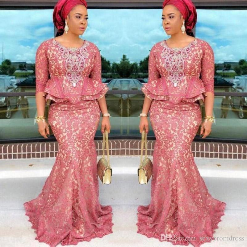 Aso Ebi Blush Lace Mermaid Prom Dresses 2019 3 4 Long Sleeves Peplum Plus Size Evening Gowns African Sweep Train Women Formal Party Dress