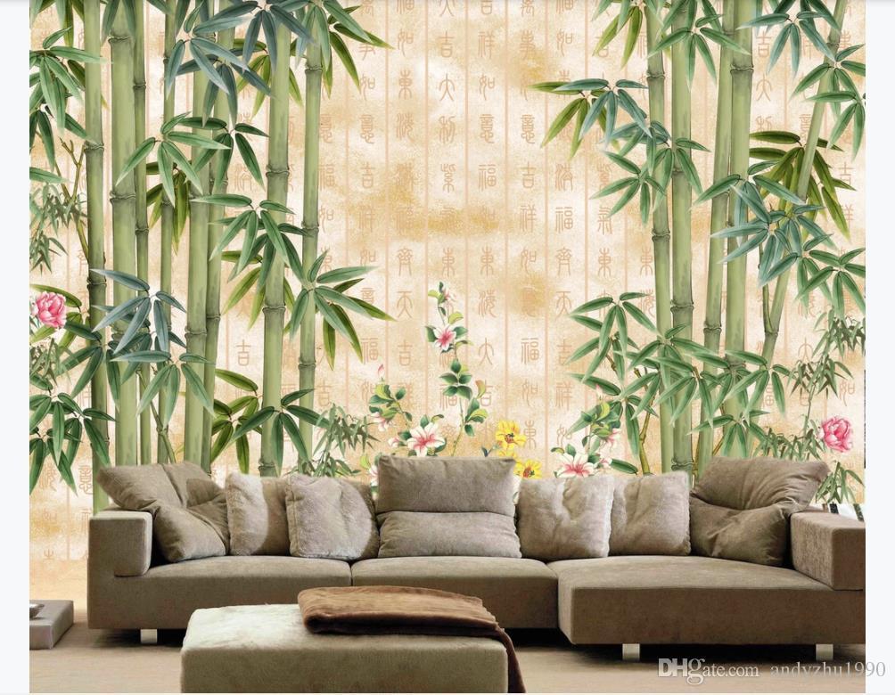 3D wallpaper custom photo silk mural wall paper HD beautiful bamboo living room TV sofa background wall interior decoration