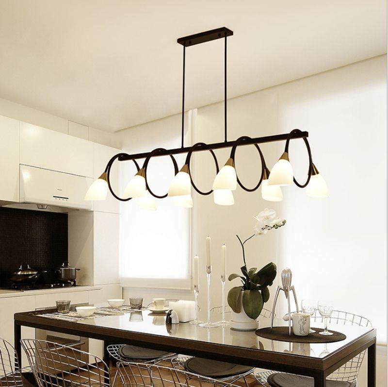 6 Light Kitchen Island Lighting, Modern Linear Pendant Light Fixture,Warm  White Color Dinning Room LightsWith Free E14 Bulb Drum Light Pendant ...