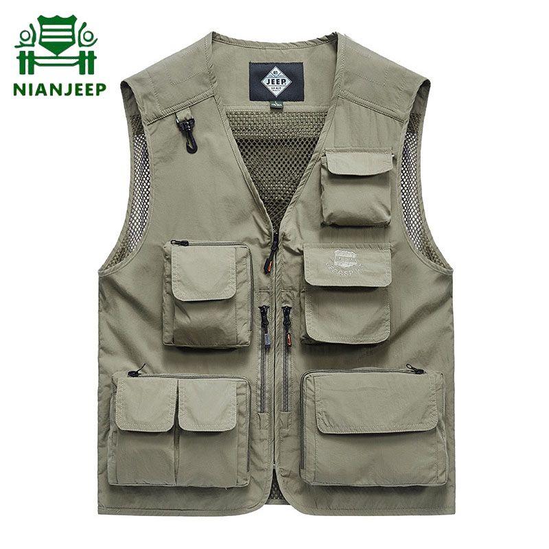 de homens Multi-pocket Coletes Verão Big Size 6XL malha respirável mangas Jackets Men Outdoor Quick Dry fotografia Pesca Vest