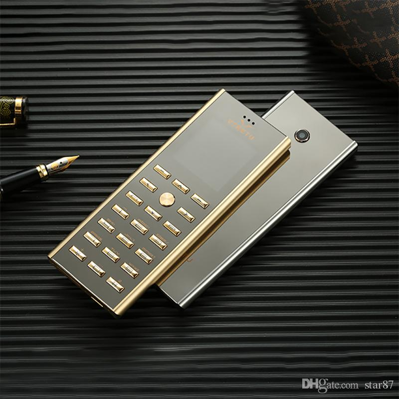 Luxury metal body dual sim Card key cell phone Fashion Design Small mini card GSM senior Golden Unlocked Signature 8800 Steel Mobile phone