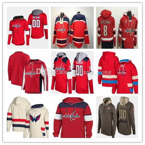 2019 Homme de Washington Capitaries Alex Ovechkin Nicklas Backstrom Tom Wilson Braden Holtby TJ Oshie Kuznetsov Hockey Sweat-shirt cousu