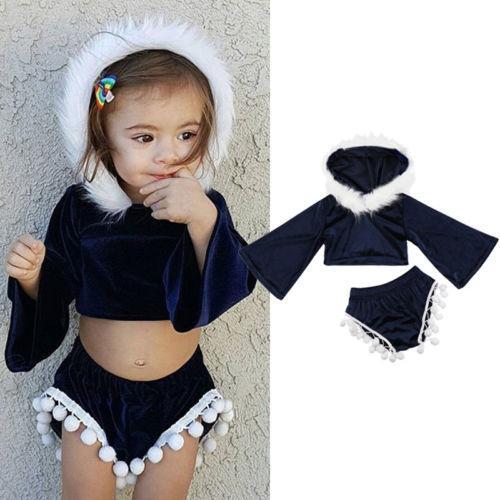 Bebê meninas miúdos de veludo de manga comprida Outfits T-shirts Tops Calças curtas Roupa Set