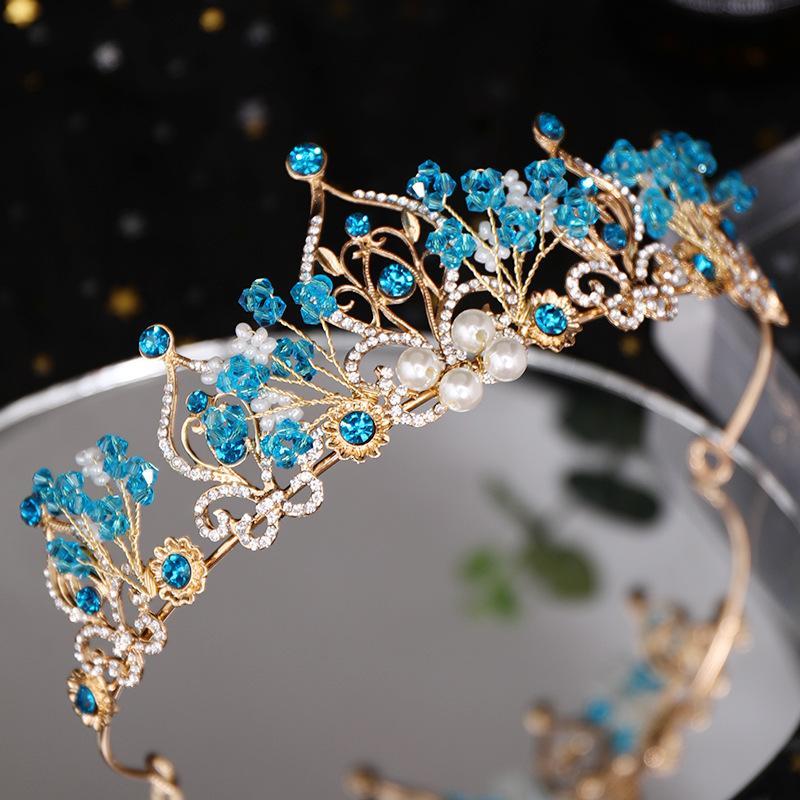 Prenses Taç Çiçek İnci Mavi Kristal Gelin Diadem Düğün taç başlıkiçi Saç Takı Düğün Saç Aksesuarları