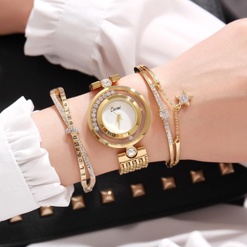 New Fashion Elegant Ladies Watches Blingbling Crystal Bracelet 3pcs Set Women Luxury Golden Steel Quartz Wristwatches Gifts C19041201