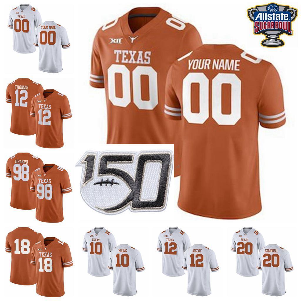 NCAA 텍사스 롱혼 대학 축구 유니폼 (10) 빈스 젊은 뉴저지 (34) 리키 윌리엄스 얼 캠벨 샘 Ehlinger 콜트 맥코이 사용자 정의 스티치