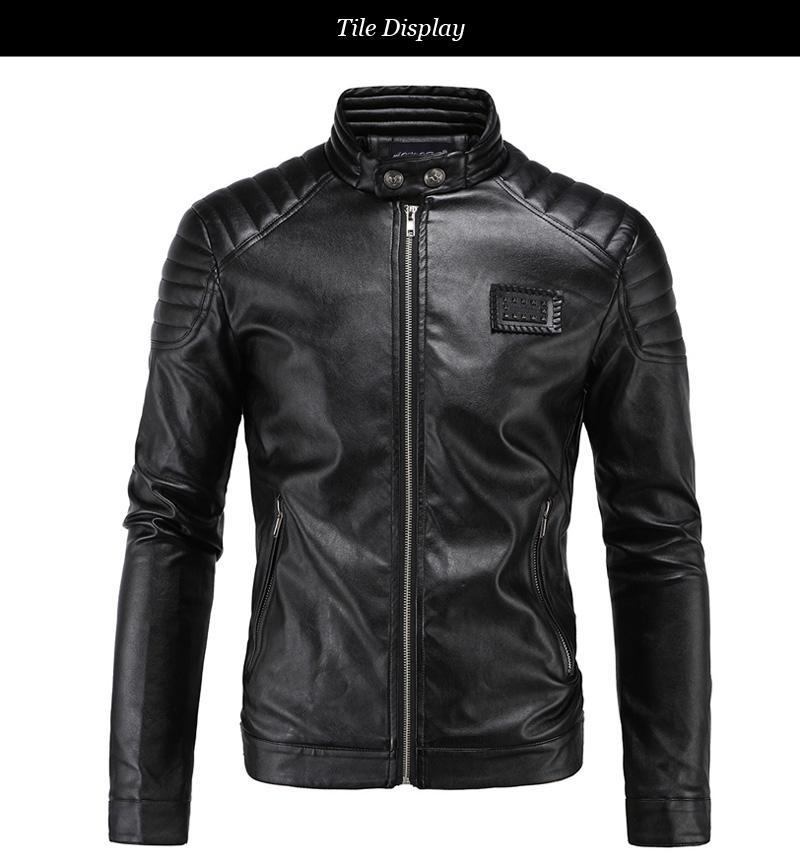 Bahar Deri ceketler Erkekler Siyah Biker ceketler Erkekler Yorgancılık Omuz Rivets Rozet Yama Vintage Motosiklet Ceketler M-5XL
