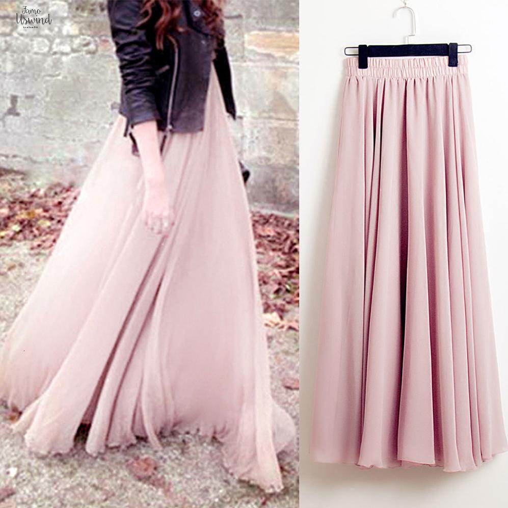 Bohemia Yaz Uzun Casual Etekler Kadınlar Stretch Yüksek Bel Katı Şifon A-Line Pileli Maxi Etek Faldas SAIAS Streetwear