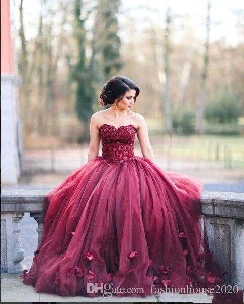 2019 Elegant Burgundy Quinceanera Dresses Ball Gown Sweetheart Tulle Appliques Lace Sleeveless Sweet 16 Dress Plus Size Formal Evening Gowns
