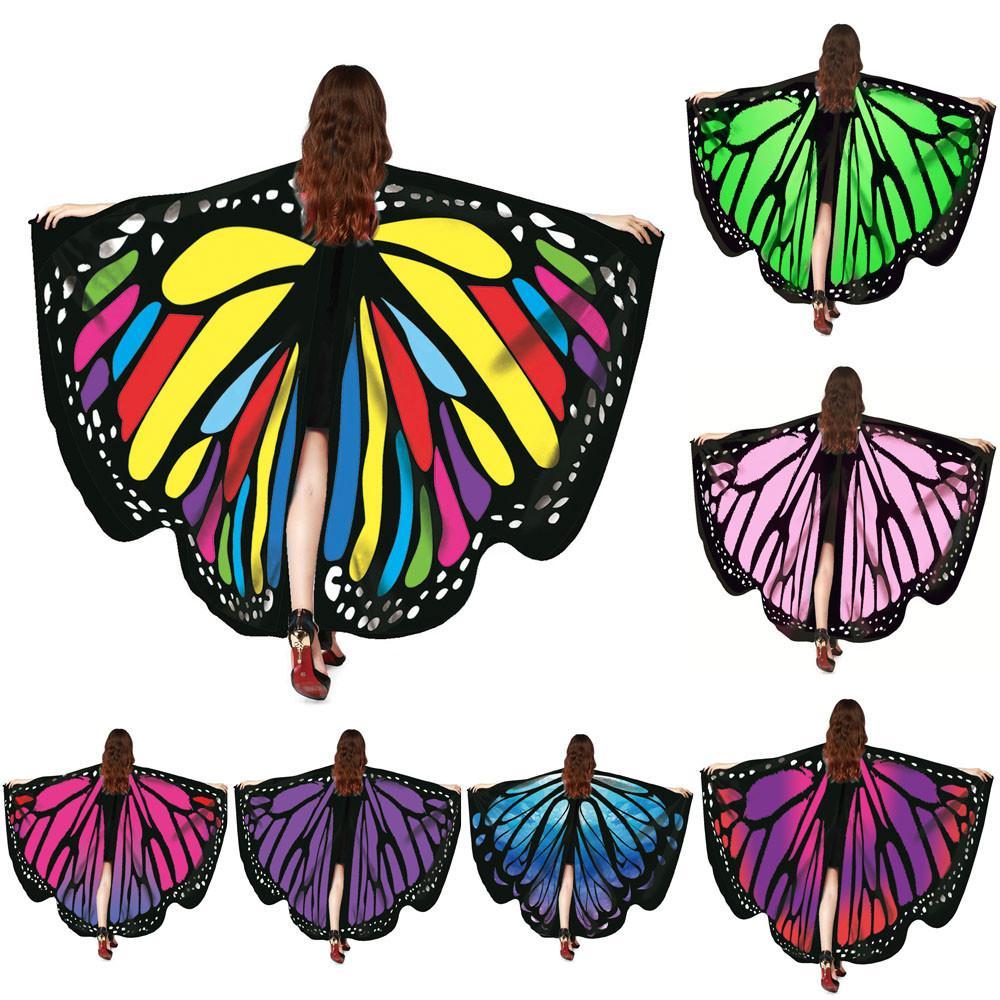 Donne sciarpa Pashmina dell'ala della farfalla del Capo del pavone dello scialle regalo carino novità Print112