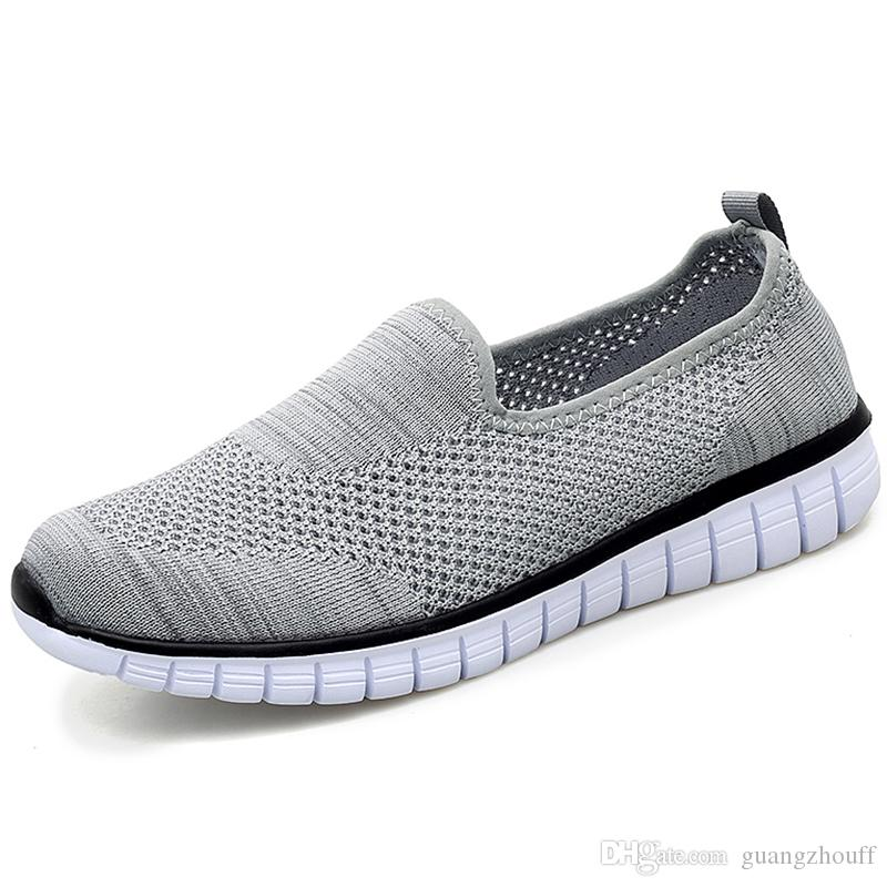 Yeni Moda Örgü Ayakkabı Yaz Breathablel Erkek Ayakkabı Erkekler Sneakers Işık Mannen Schoenen Hollow Erkekler Rahat Ayakkabılar Adam Slip-ons için