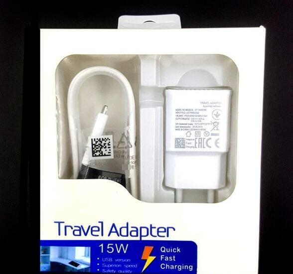 100% Fast Charging US/EU Travel Wall Charger + 1.5M Micro Usb Cable 15W adaptive For Samsung S6 S7 Edge Note 4 5 With retail box