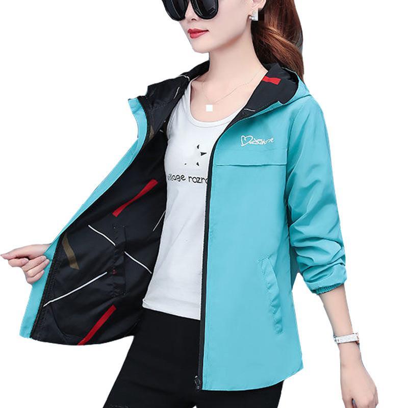 2020 İlkbahar Sonbahar Kadın Ceket moda Kapşonlu İki Tarafı Giyim Karikatür dişi WINDBREAKER P369 başında eskitmek kadınlara Gevşek Coat yazdır