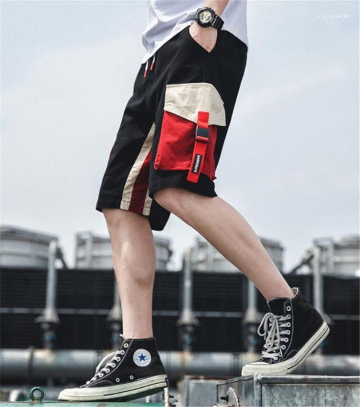 Zu knielangen Mens Shorts Sommer Kontrast Farbe Mens Short Cargo Pants Mode Los