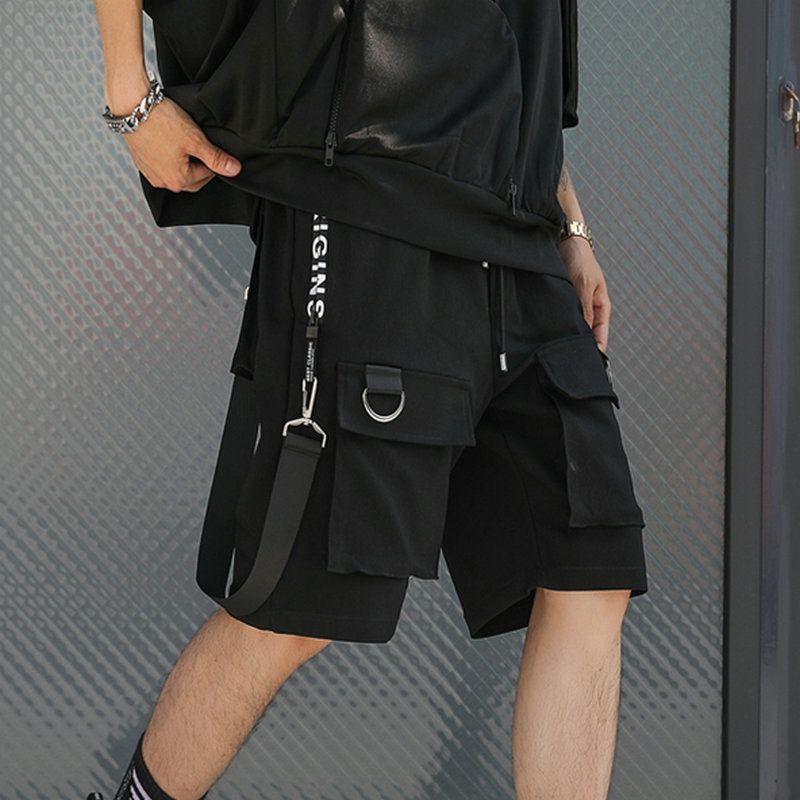 Hip Hop Summer Shorts Men 2019 Black Ribbons Streetwear Bermuda Man Shorts Multi-pocket Punk Casual Knee Length Short Pants Men Y19050501