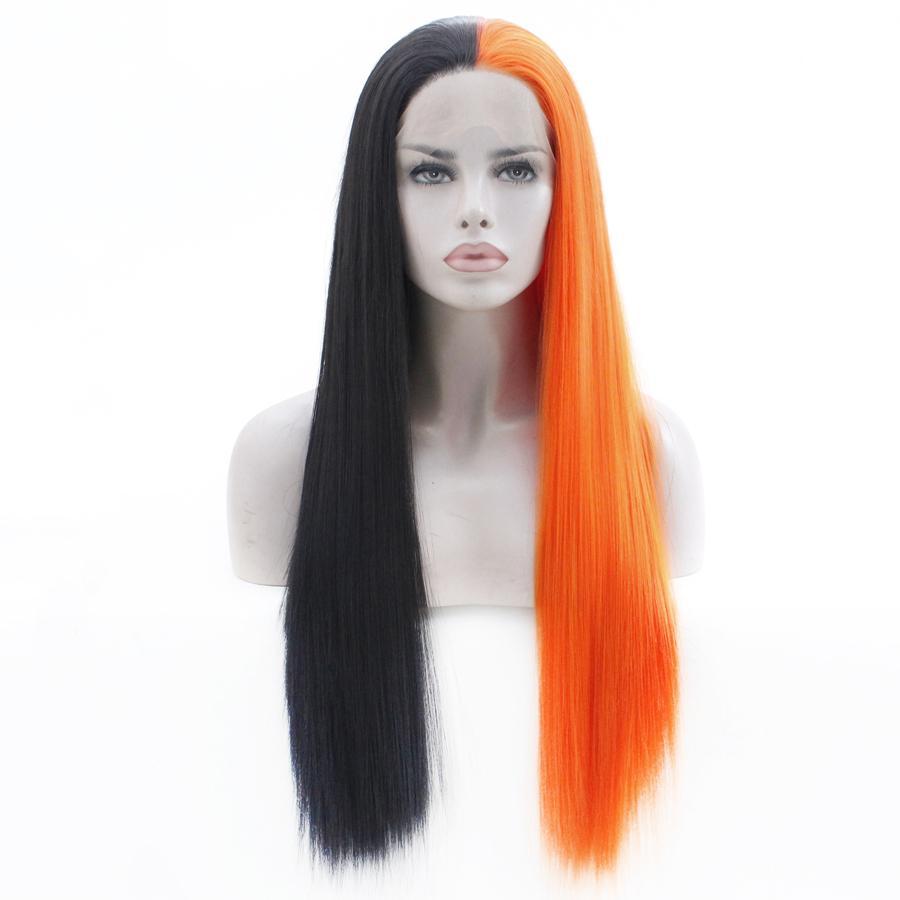 Kadınlar Natural Düz Peruk Cosplay Peruk Tutkalsız Isıya Dayanıklı Sentetik Saç Peruk için Yarım portakal Hem siyah Sentetik Dantel Açık Peruk