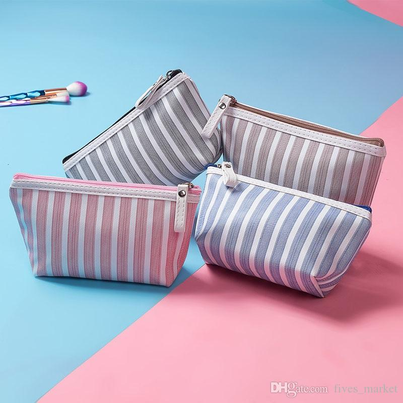 New Striped Cosmetic Bag Coin Purses Wallets Holders Travel Wash Storage Bag Gifts 4Color Choose Ship AN2117
