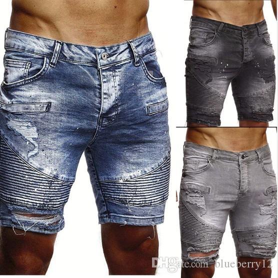 Mens Shorts Denim Destroyed denim uomo etero Biker jeans strappati con 3 colori Asiatica Misura S-2XL di trasporto
