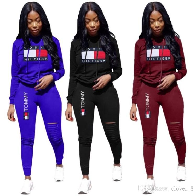 Kadınlar kazak jogging yapan spor takım elbise uzun kollu pantsuit mektup yazdırma sportsuit klw2706 legging 2 adet set kapşonlu gömlek sonbahar spor giyim