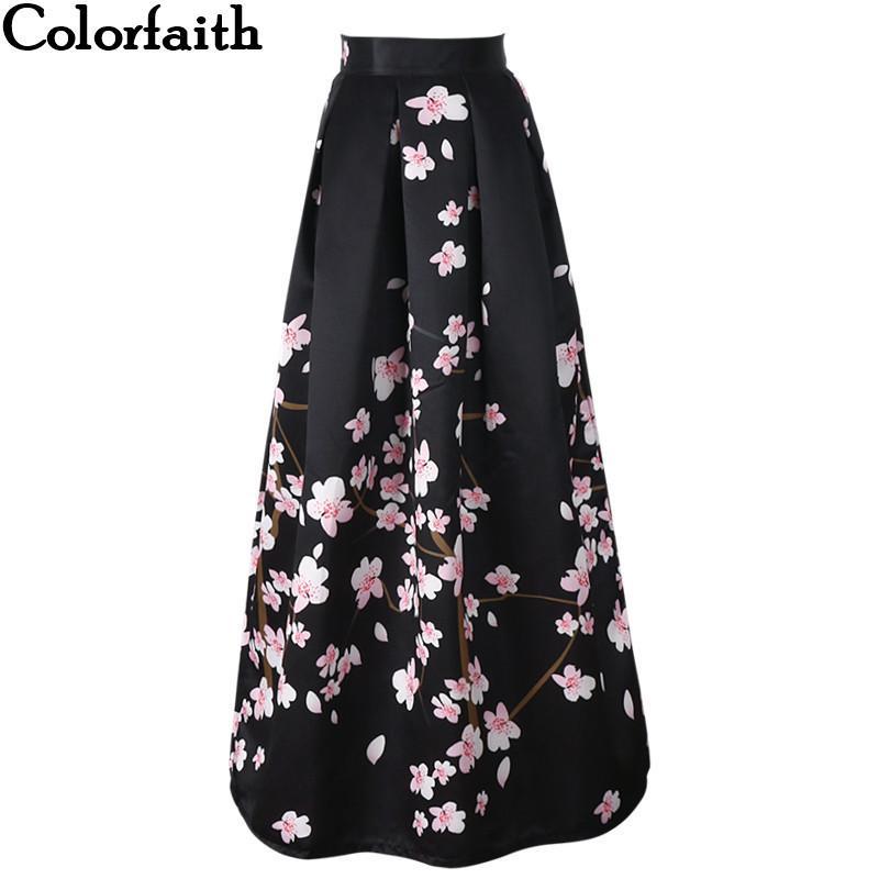 2017 Nuevo satén de las mujeres 100 cm de cintura alta acampanado Maxi faldas plisadas Peach Blossom Impreso de longitud de largo Faldas Saias SP041 MX200327