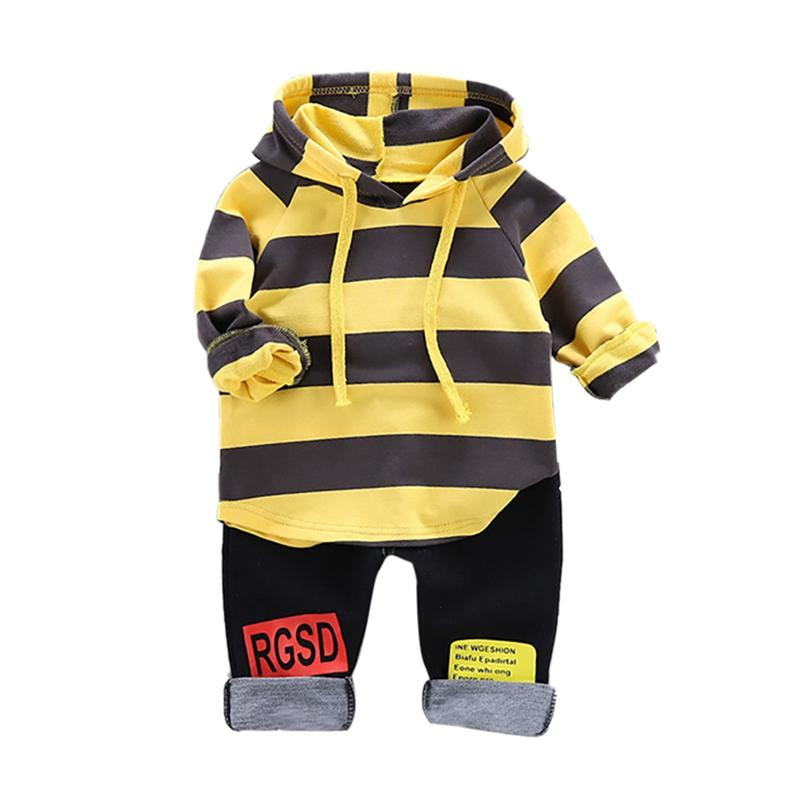 Bebê Outono Hoodie Set Roupa manga comprida Stripe Imprimir camisola Tops + Pants Boy Casual