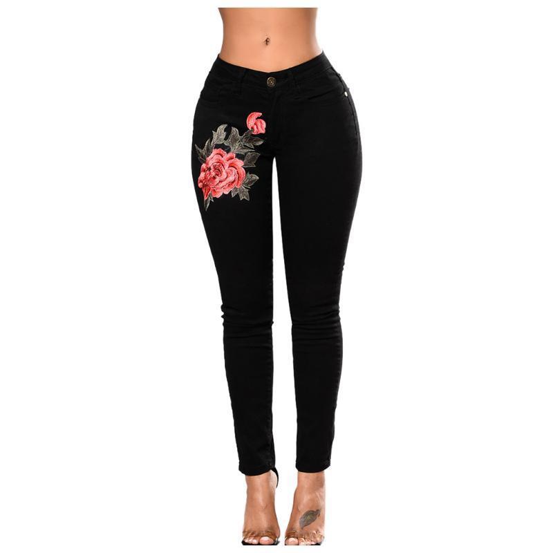 Тощий Мода Женщины Упругие цветочные вышивки поножи карандаш штаны Длинные Denim Black Jeans Горячие продажи Джинсы для женщин