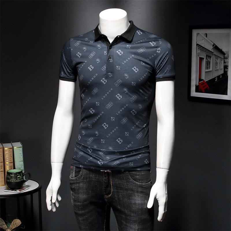 2020 лето новый лед шелк рубашка поло мужская письмо печати прилив бренда мужской отворот короткий рукав футболки бизнес случайный