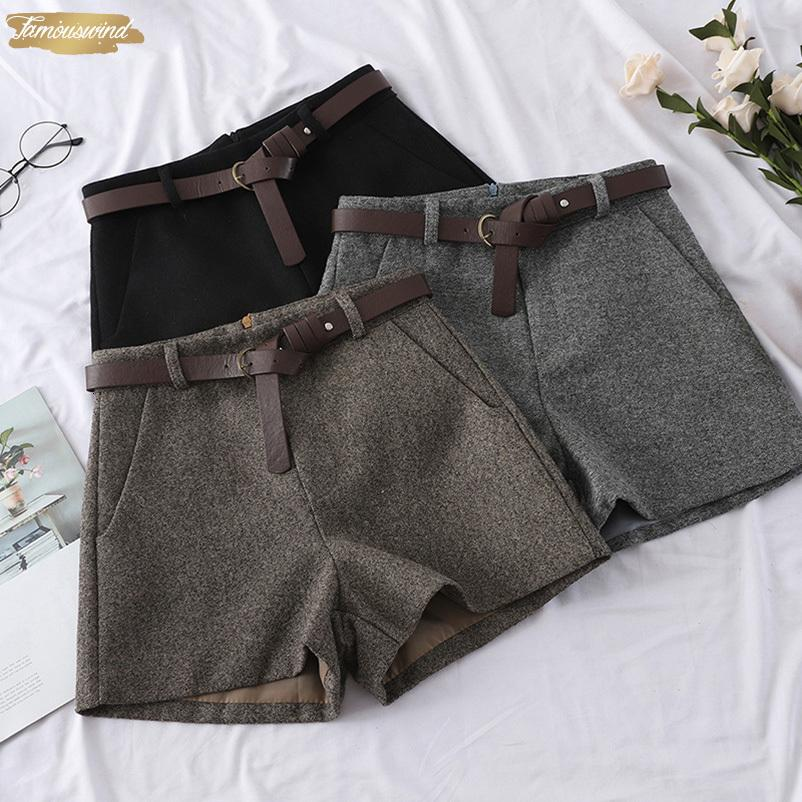 Shorts Fashion Winter Spring Women Straight 2019 Outerwear Office Sashes Casual Short Wide Leg Woman Warm Shorts
