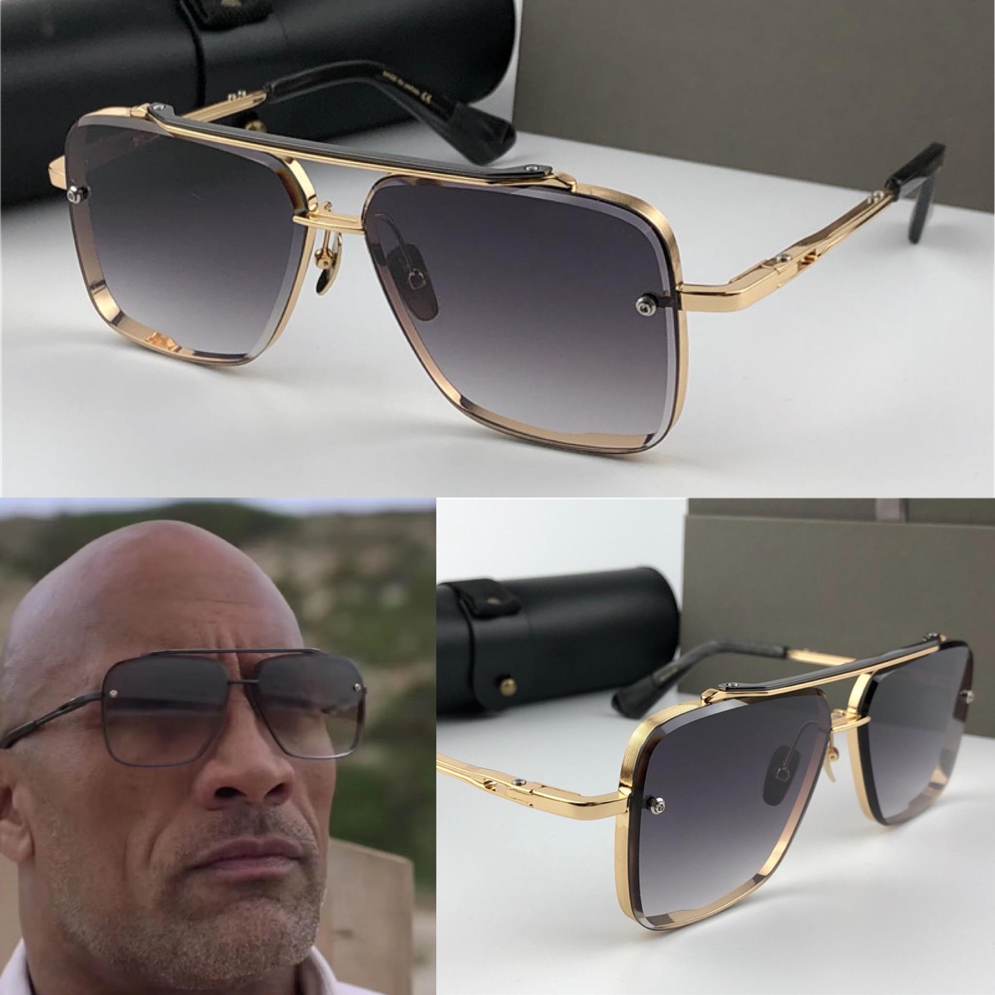 Новые солнцезащитные очки Мужчины Металл Урожай Sunglass Мода Стиль площади рамки металла Крупногабаритные Солнцезащитные очки UV 400 объектива с Case
