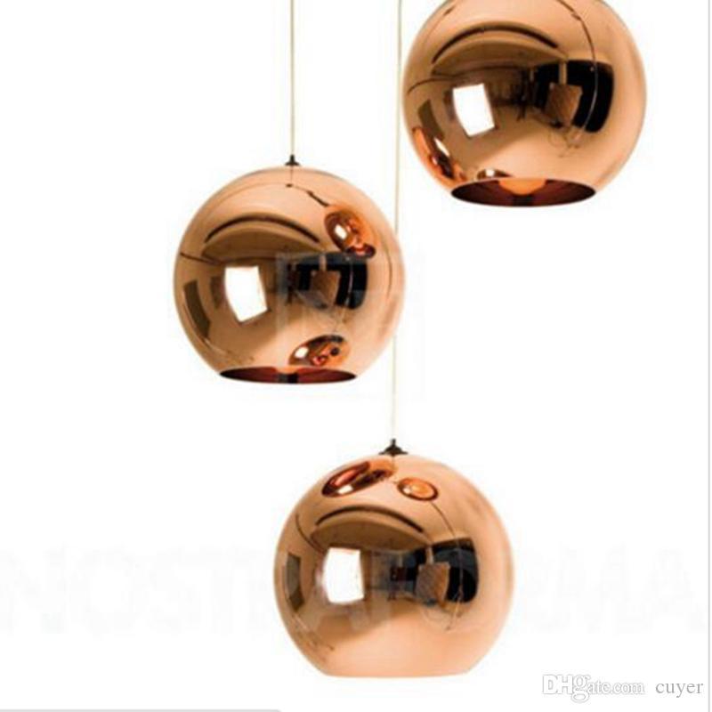 Moderne Art-Spiegel-Glaskugel-Pendelleuchten Kupfer Farbe Kugel-Lampe Pendelleuchte Moderne Leuchten