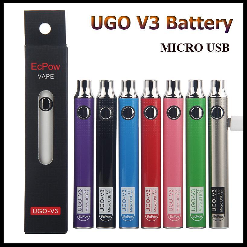 Autêntica EcPow UGO V3 Bateria 650mAh 900mAh Pré-aqueça VV Micro USB Carregamento Vape Pen Bateria para Cartuchos de Óleo Grosso com Carregador USB