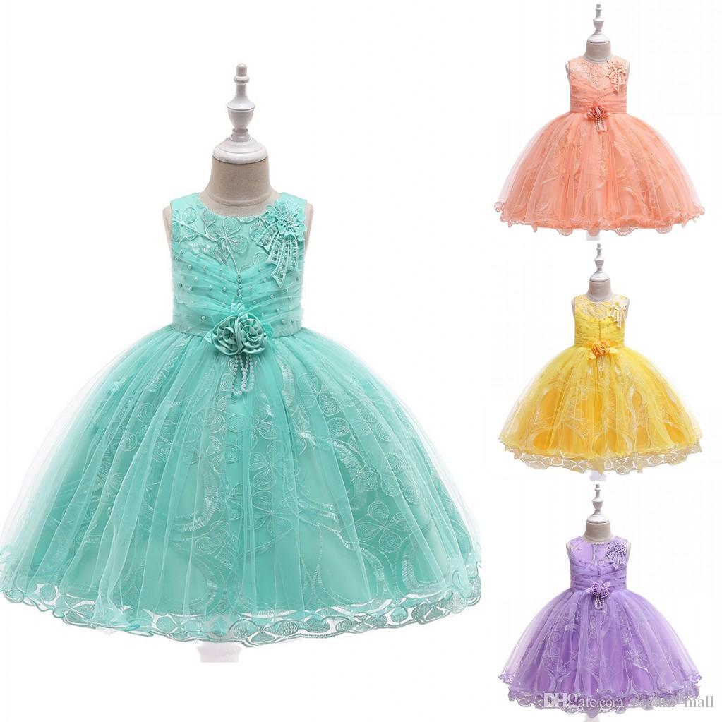 Lace Flower Girl Dress Princess Tutu Formal Birthday Party Ball Gown Kids Children Clothes