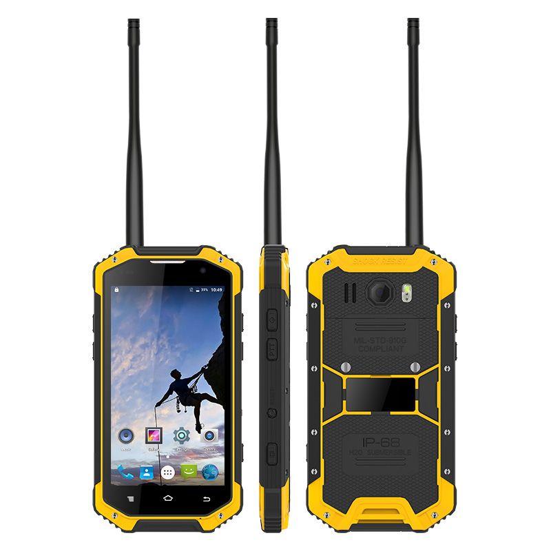 UNIWA W3 4.7 pulgadas Pantalla IP68 Impermeable UHF / VHF Walkie Talkie Smartphone Roble con barómetro NFC