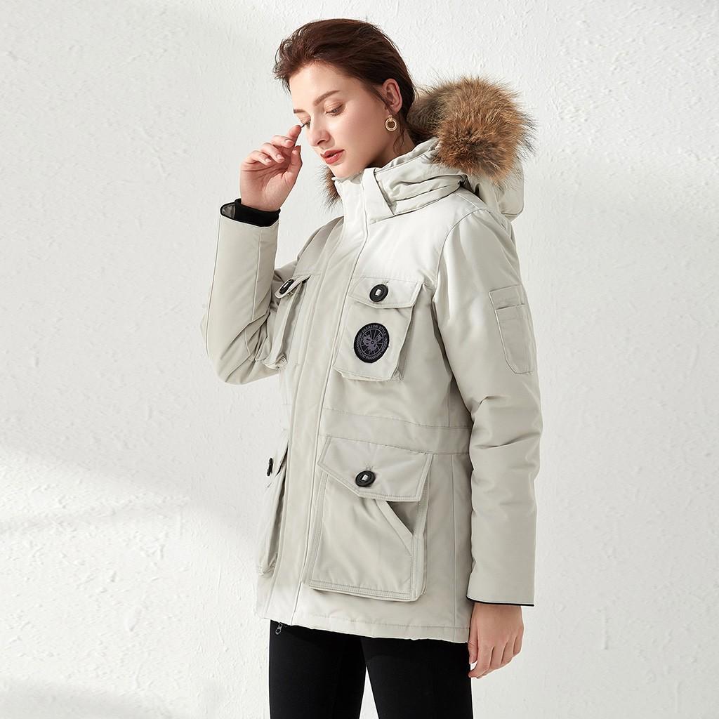 Women's Winter Parkas Down Jacket Coat Female Medium Long New Big Fur Collar Thick Warm Outwear Fashion White Duck Down Jacket#B