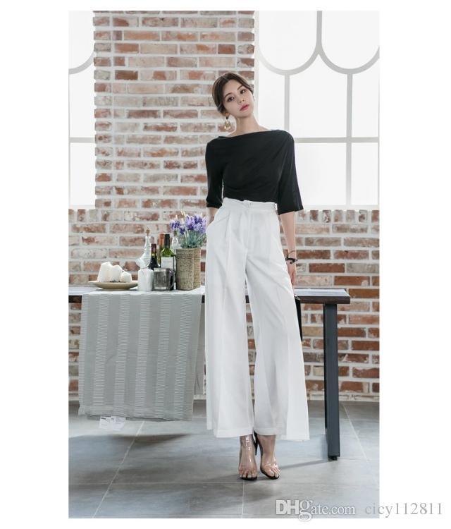 versão coreana das luvas pretas uma t-shirt ombro + alta cintura solta fina ampla terno calças de pernas